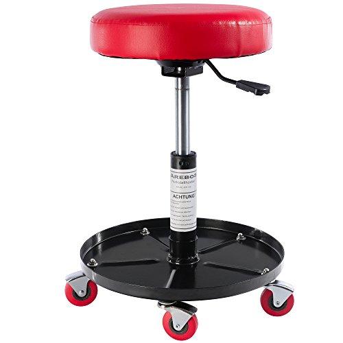 Arebos Werkstatthocker | höhenverstellbar | 136 kg belastbar | Sitzhöhe 425–540 mm | 5 bewegliche Rollen | mit Ablage | Werkstattsitz | Werkstattstuhl | Arbeitshocker