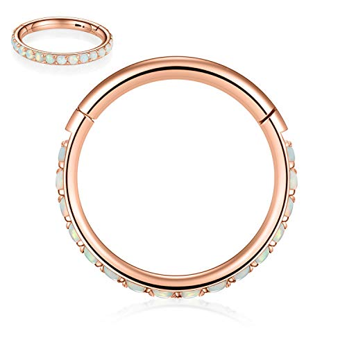 Kzslive 16G Opal Rose Gold Nose Rings Surgical Steel Septum Clicker Segment Cartilage Unisex Earrings Hoop Daith Piercing Jewelry