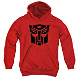 Transformers Autobot Unisex Youth Pull-Over Hoodie, Red, Medium