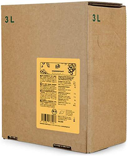 KoRo - Bio Cranberry Saft Bag-in-Box 3 l - 100 % Direktsaft aus bio Cranberries ohne Zuckerzusatz in der Vorteilspackung