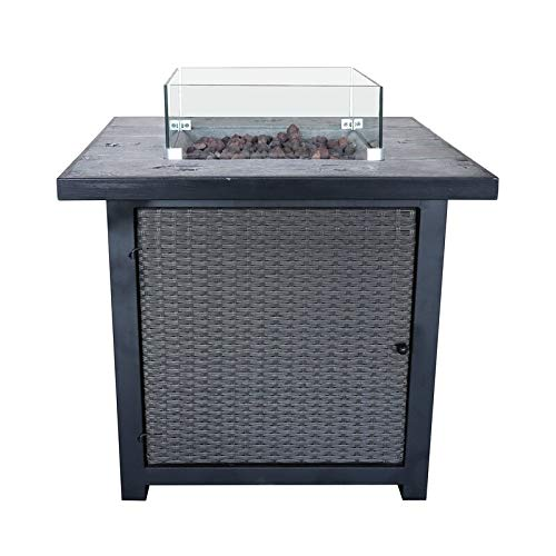 Fire Pit Table Concrete Top Glass Screen Regulator & Hose Electronic Ignition