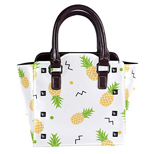 Nieten Leder Damen Handtaschen Crossbody Taschen Fashion Rucksäcke für Shopping Arbeit Campus Schwarz Vitamin C Ananas