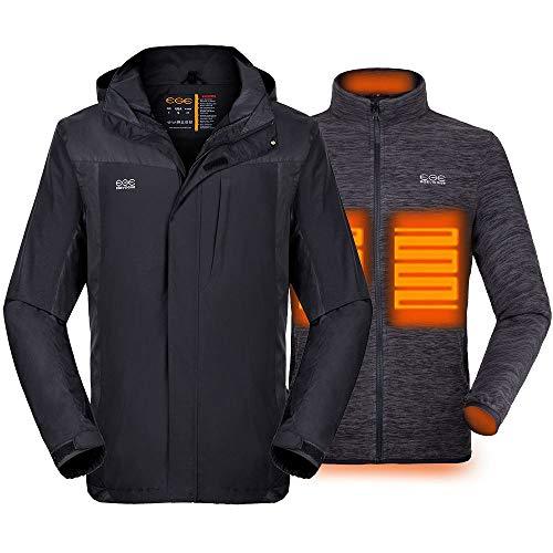 Gorich Chamarra térmica 3 en 1 para Hombre con Paquete de batería y Capucha Desmontable, Impermeable y Resistente al Viento, Chaqueta de esquí de Invierno - Negro - Large