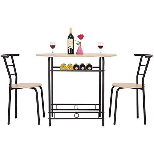 RELAX4LIFE Esszimmergruppe mit Tisch und 2 Stühlen, Platzsparende und kompakte Sitzgruppe, aus Metall und MDF-Platten, Essgruppe für Balkon, Wohnzimmer, und Küche, Natürliche Holzoptik (Natur)