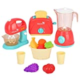 LBLA Kinder Küchengeräte Set, Rollenspiel Spielzeug küchenspielzeug für Kinder, Kinderküche Zubehör mit Standmixer, Mixer, Pop-up Toaster, Essen