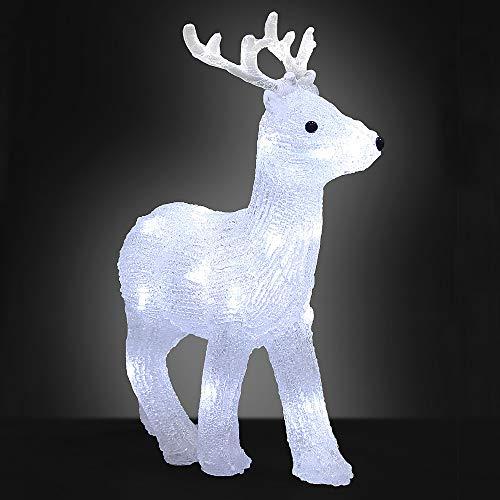Deuba Ciervo de LED adorno de Navidad de acrilico figura decorativa iluminación decoración interior exterior con cable