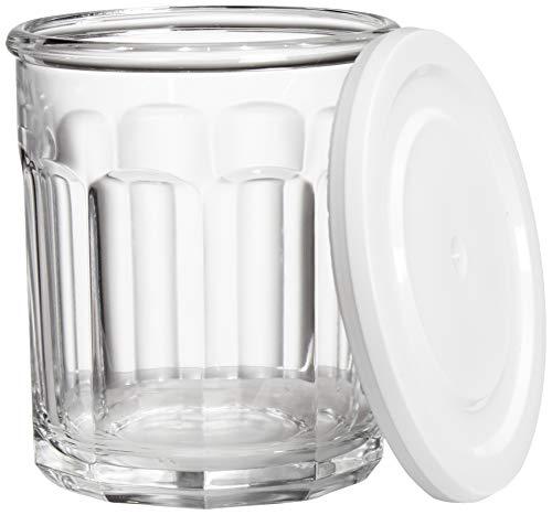 Amazon Basics Westridge Juego de 8 piezas (4 vasos, 4 tapas) de vidrio resistente y juego de almacenamiento con tapas, 14 onzas