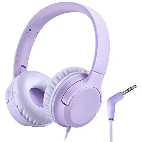 Kids Headphones, Wired Headset for Children Toddler Teens Girls with 94dB-Volume-Limit, Foldable Adjustable for School, Travel, Online Learning, 3.5mm Audio Jack for Phone, Tablet, PC, Chromebook