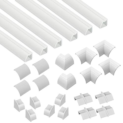 D-Line Quarter Round Cable Raceway, Self-Adhesive Baseboard Molding Alternative, White, 6 x 6.5ft Lengths Per Pack