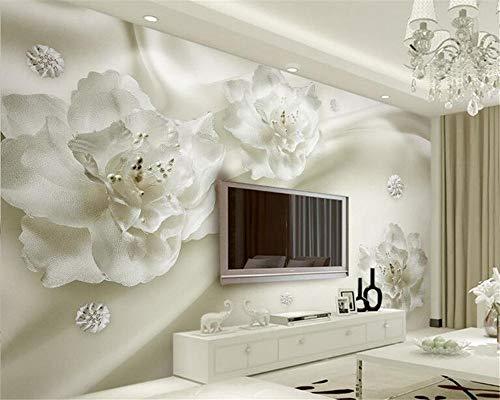 Fotobehang 3D Mural Wallpaper Mooie Licht Luxe Zijde Bloemen Binnen 3D Behang Eenvoudige en Europese Stijl 3D Tv Achtergrond Muur Mode Behang