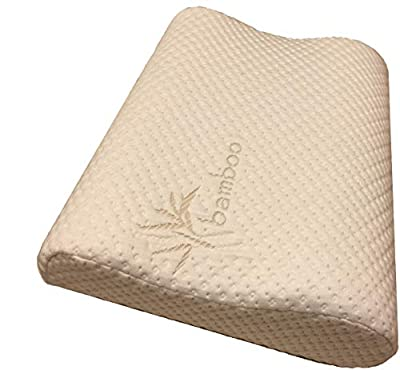 Memory Foam Neck Pillow - Double Contour - Chiropractor Approved - Washable Soft Bamboo Cover - Great for Neck Pain, Sleeping