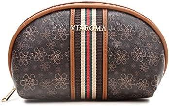 VIA ROMA Small Makeup Bag Classic PU Print Travel Makeup Mini Cosmetic Bag for Women Girls (khaki)