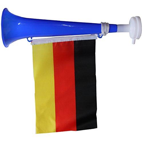 SchwabMarken Handball WM Weltmeisterschaft Tröte Horn Fahne Flagge. Viele Verschiedene Fanartikel Sets, Hier 1 Stück Tröte Blau mit Fahne Trompete, Tröte, Ballons, Trillerpfeife, Armband, Stirnba