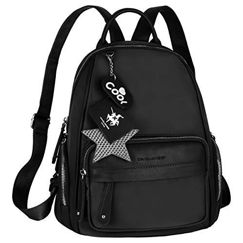 David Jones - Damen Kleine Rucksack Backpack - Casual Mode Daypack Wasserdicht Nylon PU Leder - Mini Frauen Mädchen Schultertasche - Viele Reißverschluss Taschen - Alltag Rucksackhandtasche - Schwarz