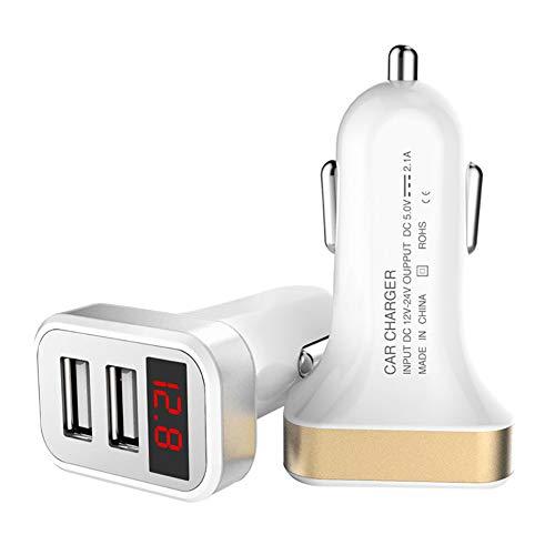 FJW 5V 2.1A Double Port Chargeur de Voiture USB Multi-Fonctionnel avec la Technologie de Charge Intelligente adaptative avec Surveillance de Tension LED Protection Intelligente pour Voiture 12V-24V