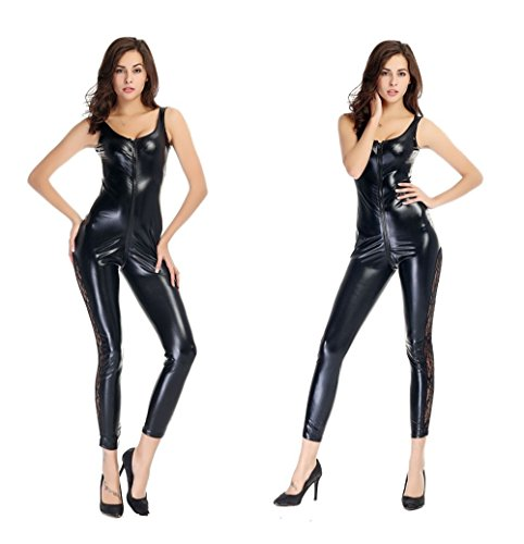 Dan Catsuit de Cuero PVC Clubwear Traje Mono Mono Preto Sexy Latex Catsuit Lencería Ternos Club Wear para Mulheres