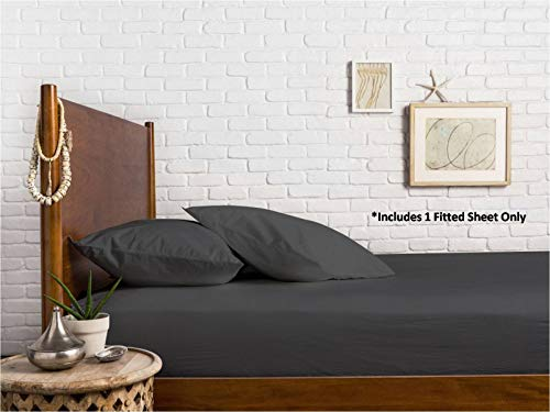 Comfy Sheets 100% Egyptian Cotton Sateen Weave 1000 Thread Count Full Fitted Sheet with Elastic All Around - Fits Mattress Upto 18'' Deep Pockets Stone Grey