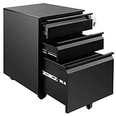 """File Cabinet 3-Drawer 23.6"""" Deep on Wheels Mobile Storage Cabinet for Home and Office with Key Lock and 5 Casters Metal Filing Cabinet for Any Legal and Letter File Size,Fully Assembled"""