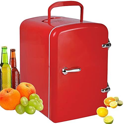 ZRZJBX Mini Refrigerador PortáTil para El Skincare 4L, Mini Neveras 220V/12V para Enfriar Y Calentar para Coche, Casa, Oficina Y Dormir,Red