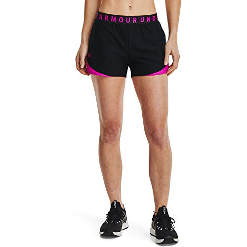 Under Armour Play Up Shorts 3.0, Corto Mujer, Black/Meteor Pink/Meteor Pink, XL