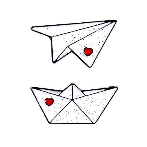 JWGD 2 unidades/set de alfileres de esmalte de origami de papel, avión, barco, insignias de Pareja de broches de amor rojo Lentejuelas Pin de Solapa Chaquetas bolsa dulce joyería regalo