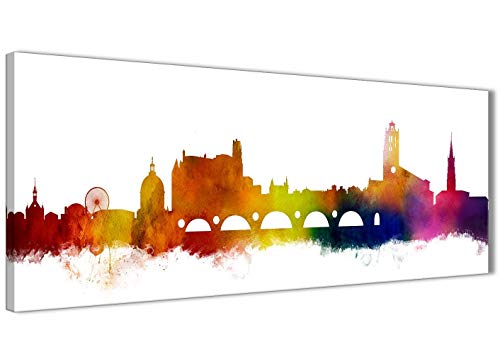 Toulouse stad landschap canvas muurkunst schilderijen - 94 cm breed multicolor