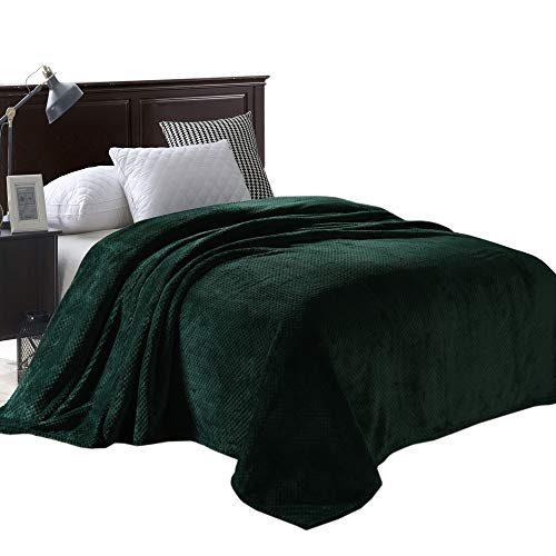 "Exclusivo Mezcla Queen Size Waffle Flannel Fleece Velvet Plush Bed Blanket as Bedspread/Coverlet/Bed Cover (90"" x 90"", Forest Green) - Soft, Lightweight, Warm and Cozy"
