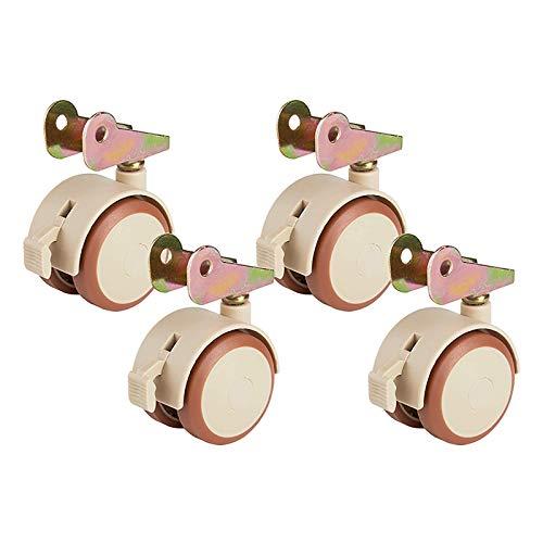 JSONA Ruedas giratorias 47 mm de diámetro Ruedas de Carro de plástico Silent 360 & deg;Rotación con Frenos Ruedas para Muebles para Cama de bebé Cajón de Mesa