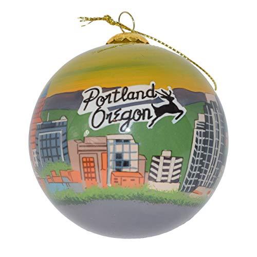 Art Studio Company Hand Painted Glass Christmas Ornament - Portland Oregon Skyline