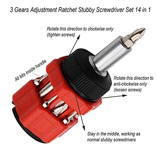 Ratchet Stubby Screwdriver, Liangery Short Stubby Screwdriver Set with Multi Bits in Red Stubby Ratcheting Screwdriver Nut Drivers with Sloted and Phillips Multibits 14 in 1