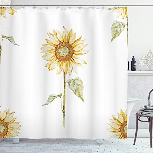 ABAKUHAUS Sonnenblume Duschvorhang, Aquarell Blumenkunst, mit 12 Ringe Set Wasserdicht Stielvoll Modern Farbfest & Schimmel Resistent, 175x180 cm, Gelb Grün