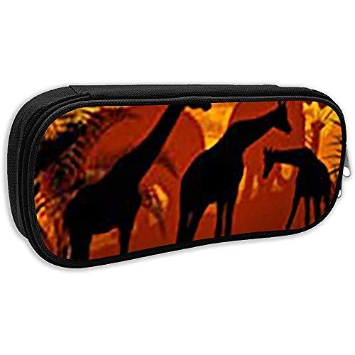 Schule Federmäppchen, Pflanze Afrika Giraffe Sonnenuntergang bei Safari Natur Wildlife African Park Muster Zoo Akazie Federbeutel Büro Schreibwaren Tasche
