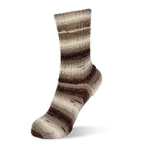 Rellana Flotte Socke Degradè 4-fädige Sockenwolle Mod. 2019, 75% Schurwolle/25% Polyamid (1465 beige-braun)