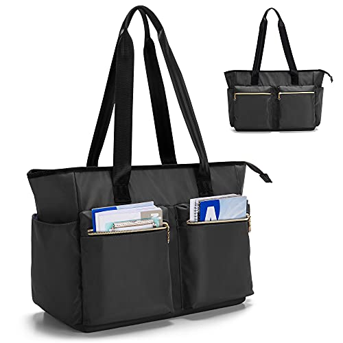 Damero Teacher Bag, Teacher Utility Tote Bag with Zip Top and Padded Sleeve for up to 15.6'' Laptop for School, Office, Business, Black