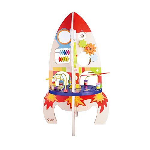 Classic World Multi-Activity Rocket Wooden Bead Maze Gear Play Center Children Learning Education