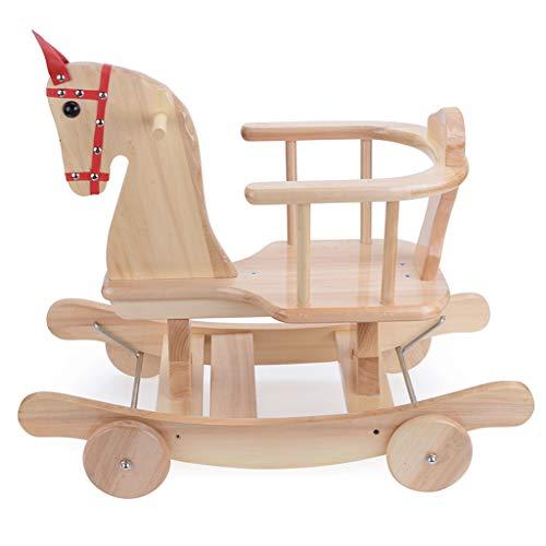 Cheval à Bascule pour Enfants, Petit Cheval à Bascule en Bois, Bois Massif Pur, Cadeau de fête des Enfants en Bois de sécurité