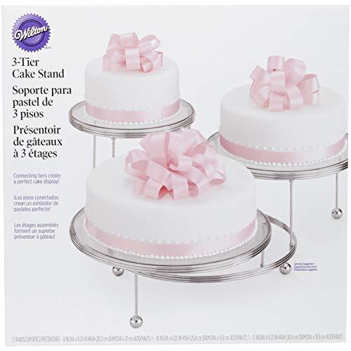 Wilton 307-859 Kuchenständer, Cakes 'N More, 3 Etagen, Chrom, von 10 cm bis 19,6 cm, Standard