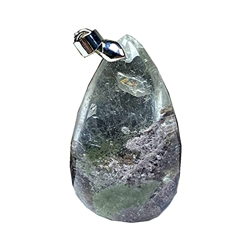 Colgante de cuarzo fantasma natural fantasma para mujeres hombre 32x19x12mm gota de agua cristalina piedra transparente collar colgante joyería AAAAA