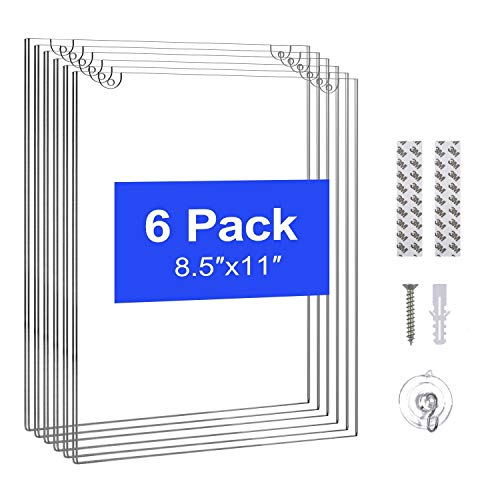T-SIGN Acrylic Wall Sign Holder 8.5 x 11 Inches, Clear Paper Document Holder, Wall Mount Ad Frame, 6 Pack with 3m Tape Adhesive, 6 Suction Cups and 12 Mounting Screws