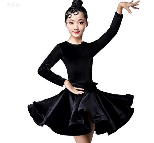ZYLL Kinder-Kleider für Mädchen Langarm-lateinischen Tanz-Kleid Velvet Ballroom-Wettbewerb Party Stage Aufführungspraxis Kostüme,Schwarz,140CM