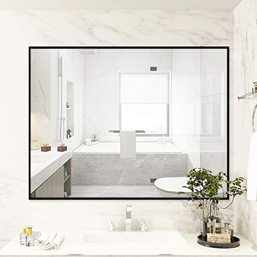Large Modern Black Aluminum Wall Mirror 30'x40' Glass Panel Vanity or Mirrors for Wall, Rectangle Hangs Horizontal or Vertical