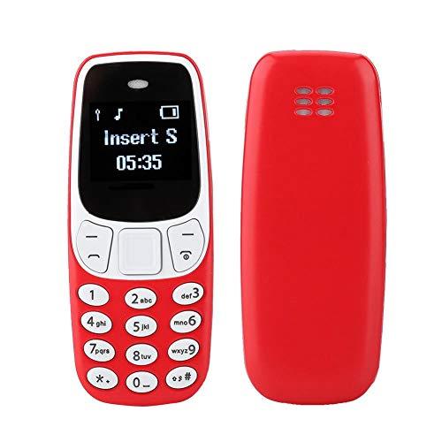 Annadue Mini teléfono móvil OLED de 0.66 Pulgadas, Tarjeta SIM gsm Bluetooth Marcador Teléfono móvil con Cambiador de Voz, Sonido Fuerte y Botones Grandes, Doble Tarjeta de Doble Modo de Espera(Rojo)