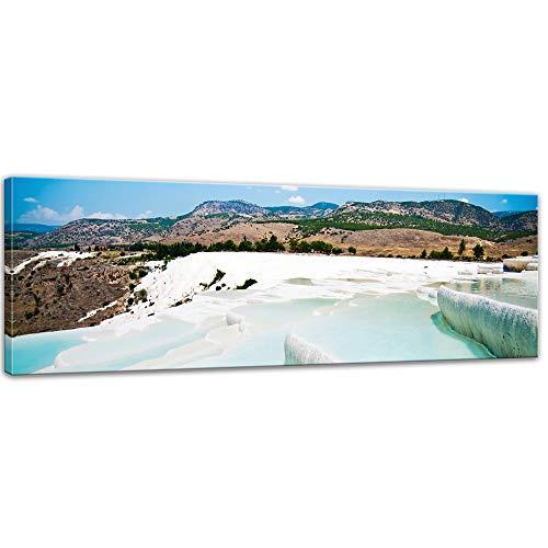 Bilderdepot24 Bild auf Leinwand | Pamukkale Kalksinterterrassen in der Türkei in 120x40 cm als Panorama Wandbild XXL | Wand-deko Dekoration Wohnung modern Bilder | 211450