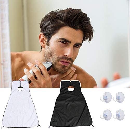 Babero para barba, paquete de 2 delantales para barba, pelo de afeitar y recorte de pelo, delantal con 4 ventosas