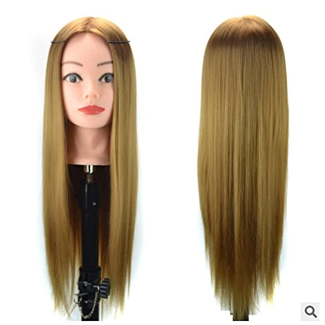 七時半スラッシュスピーチDoyvanntgo ブラケットティーチングヘッドを含む60cmウィッグヘッド練習用ディスクとメイクアップ修理またはカットウィッグヘッド付き編み毛 (Color : Golden)
