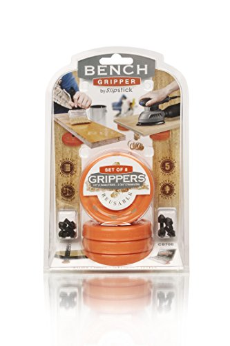 "Slipstick CB700 Universal Bench Grippers with Non Slip Grip Surface for Woodworking, Painting, Leveling, Raising, and Supporting (Set of 8) 2-3/4"" Round x ½"" Tall-Orange, 8 Pack, 8 Count"
