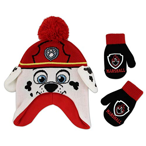 Nickelodeon Boys Winter Set, Paw Patrol Toddler Beanie and Mittens for Kids 2-9, Marshall Hat, Age 2-4