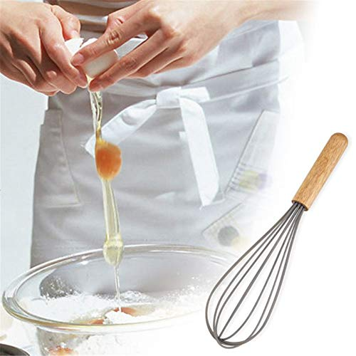 Egg Beater Stainless Steel Egg Beater Hand Mixer Cream Blender Stirring Whisk Frother Wooden Handle Kitchen Gadgets Kitchen Push Whisk (Color : Silver, Size : As Shown)