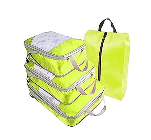 Showwe, set di 4 pezzi da viaggio, organizer per bagagli, borsa da viaggio, portatile, comprimibile, per vestiti, scarpe e scarpe, bagagli da viaggio per riporre (verde)