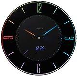 掛け時計 置き時計 電波時計 LED使用 黒 リズム時計 8RZ197SR02
